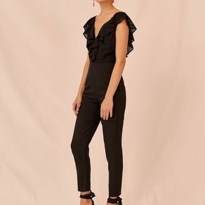 NWT Keepsake Black Insight Ruffle Jumpsuit Size S
